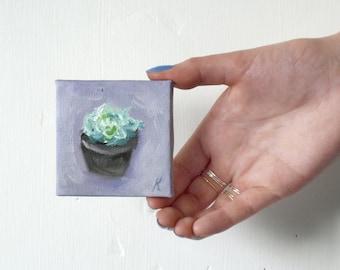 Mini Painting Succulent Plant Art // 7x7cm on Canvas & Easel