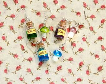 Alice in Wonderland Drink me Eat me bottles earrings