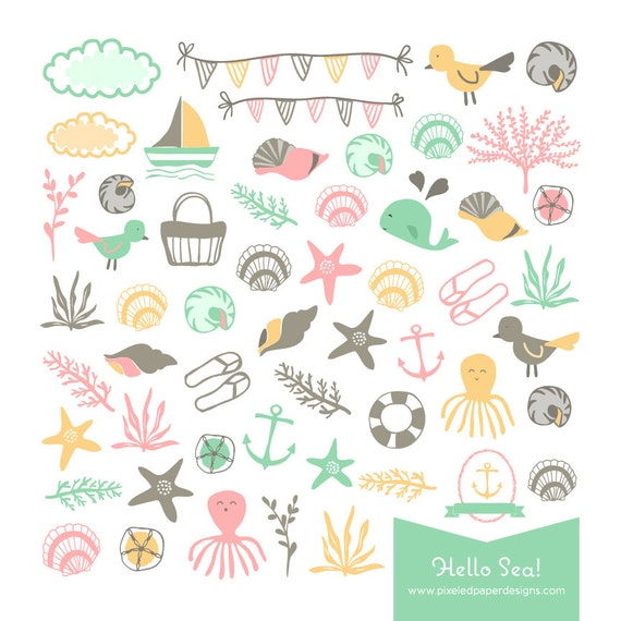Hello Sea! - Nautical Clip Art - Ocean & Beach Themed Digital Graphics for Scrapbook, Card, Invites | Commercial License Available