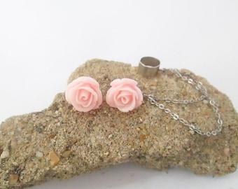 Pink flower ear cuff wrap earring