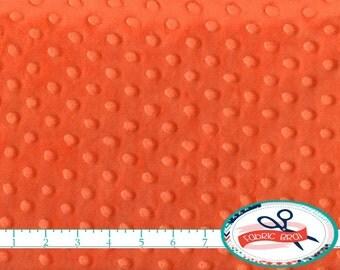 ORANGE MINKY DIMPLE Dot Fabric by the Yard Half Yard or Fat Quarter / Fat Half Bright Orange Cuddle Plush Minky Fabric Cuddle Fabric Pl-Bo