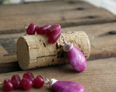 Dramatic Pink Earrings, Fuchsia Earrings, Crazy Lace Agate Earrings, Drop style, Sterling Silver, Quality Handmade Jewelry