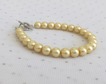 Light Yellow Pearl Bracelet, Yellow Bridesmaid Jewelry, Light Yellow Beaded Bracelet Jewelry, Bridesmaid Gift, Yellow Wedding Jewelry