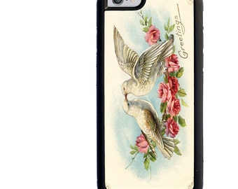 iPhone 5 5s 6 6s 6+ 6s+ SE 7 7+ iPod 5 6 Phone Case, Doves, Valentine, Romantic, Love, Birds, Plus