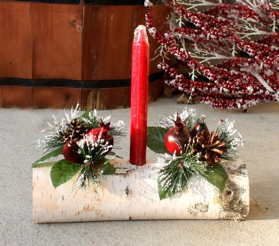 Red candle yule log birch christmas centerpiece by