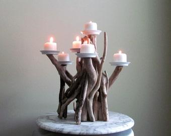 Driftwood Six Candles Candelabra International Orders Sized, Beach Decor, Coastal Decor, Wedding Decor, Driftwood Sculpture, Driftwood Art