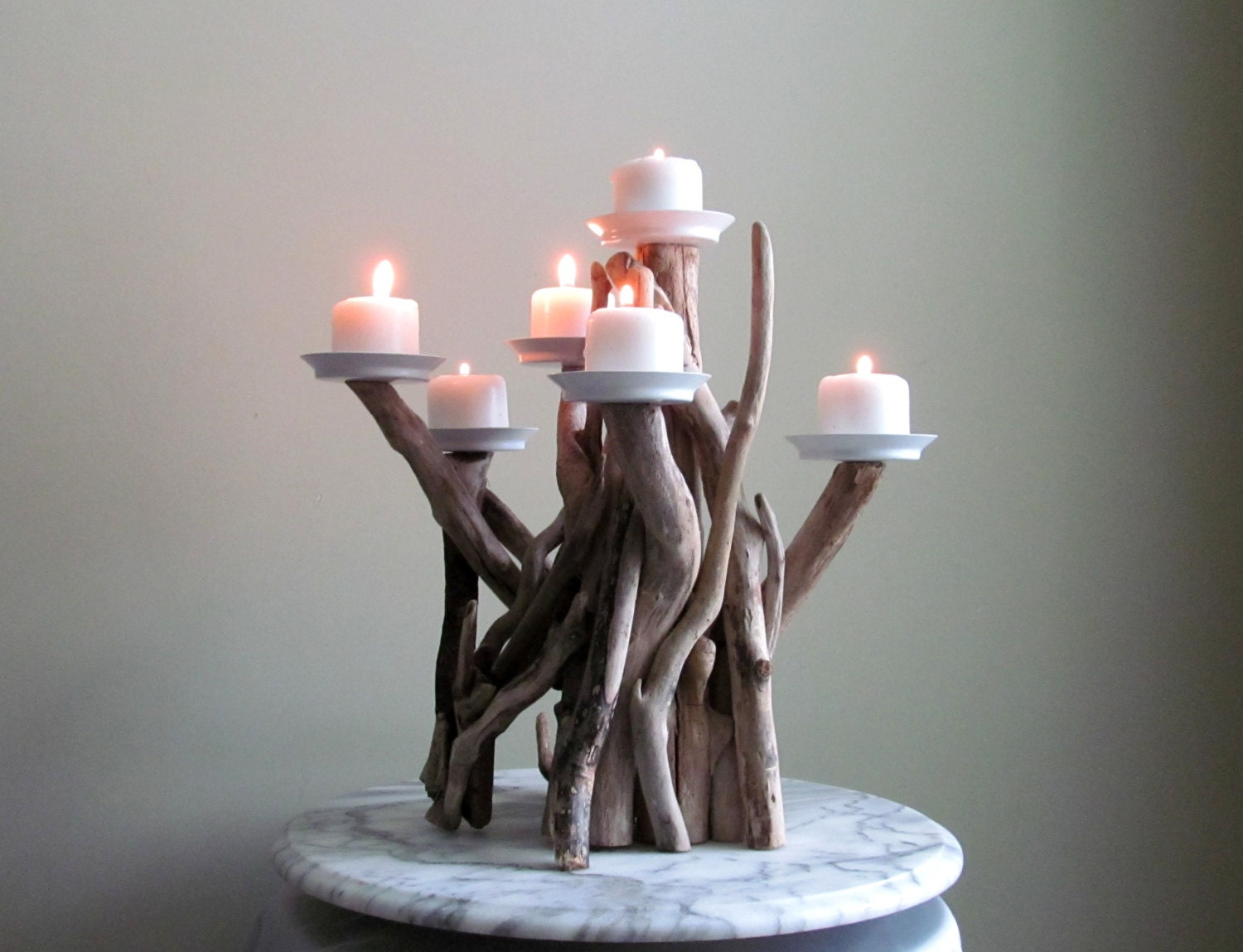 Driftwood six candles candelabra international orders sized