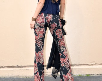PAISLEY PRINT 70's flare leg bell bottom wide leg fall retro fashion gypsy hippie festival pants