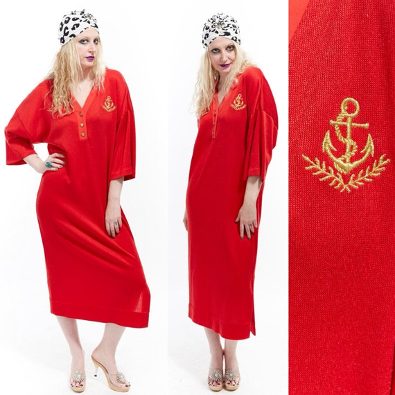 Vtg 70s CHRISTIAN DIOR Sailor Anchor NAUTICAL Shirt Maxi Dress Robe Resort Caftan Loungewear Designer Embroidered Avant Garde Minimalist