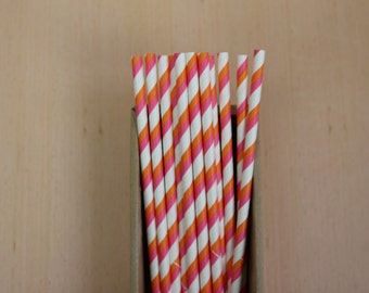 25 hot pink & orange bicolor striped paper straws (PS020622) - Party straw