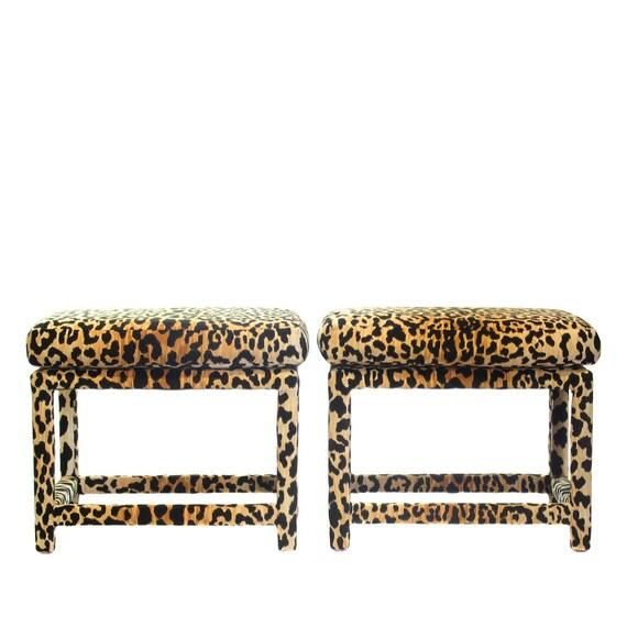 Milo Baughman Leopard Velvet Parsons Benches