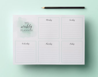 Printable Weekly Planner - Stylish Calligraphy and Watercolour - Downloadable PDF File