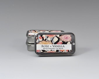 Vanilla Rose Lip Balm, Handmade, Natural Lip Balm, Lip Balm Tin, Party Favor, Natural Skin Care, Vanilla Lip Balm, Stocking Stuffer