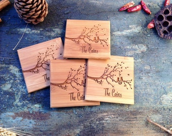 Set of coasters, cats in love 4 x 4 x 1/4 inch bamboo, Free Engraving Included! Beautiful Wood!