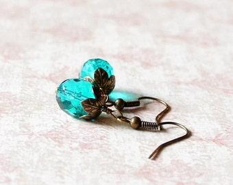 Blue Earrings, Green Earrings, Czech Glass Earrings, Teal Blue Earrings, Czech Beads Earrings, Glass Beads Earrings, Small Earrings
