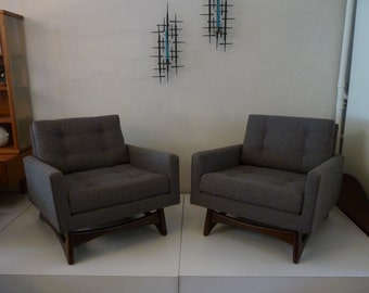 SALE 20% OFF Pair of Adrian Pearsall Chairs Mid Century Modern Chairs Grey Gray and Walnut Tufted Chair