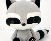 """Bellzi® Cute Black and """"Gray"""" w/ White Contrast Raccoon Plushie Doll - Cooni"""