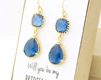 Will you be my bridesmaid (Navy Blue / Gold Long Rope Rim Earrings - Earring - ER2)