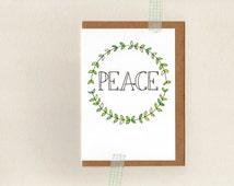 PEACE . christmas greeting card . art . xmas holiday wreath hippy hippie . australia wandarrah etsyau
