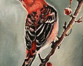 Original red bird oil painting with frame