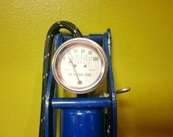 Vintage Blue Bike Pump *FREE SHIPPING* // Retro Mechanic Bicycle Foot Air Pump