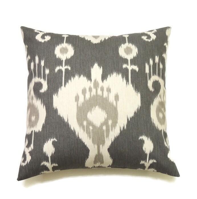 20x20 Throw Pillows Covers : Grey Ikat Pillow Cover 20x20 Pillow Cover Designer