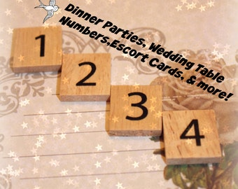 Wooden Number Tiles (Scrabble Size) - Weddings, Escort Cards, Seating Chart, Scrapbooking, Card Making, Party Supplies, & More