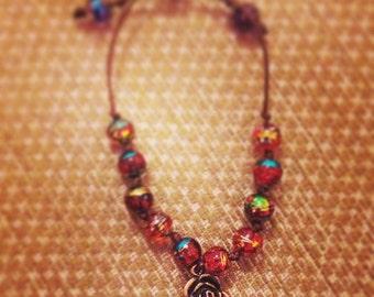 Handmade Beaded Rose Bracelet with Adjusting Strap