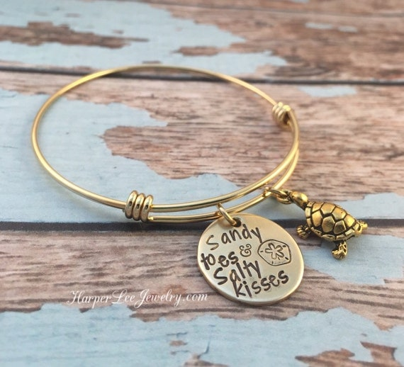 Sandy toes & Salty kisses - Hand Stamped - Stainless Steel Gold Bangle Turtle Charm Bracelet - Beach Girl Jewelry -Sand dollar - Sea - Ocean