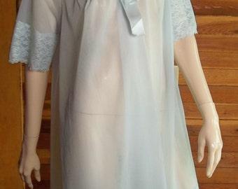 Vintage Lingerie 1950s SHADOWLINE Light Blue Chiffon Robe Small
