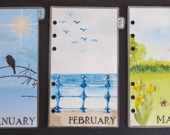 Personal size monthly dividers Jan-Dec