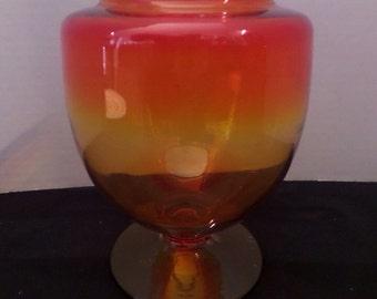 Vintage Colored Glass Footed Vase