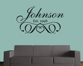 Monogram Custom Name Family Name Stylish Art Deco Personalized Vinyl Wall Decal Wall Words  Marriage Wedding Family Crest