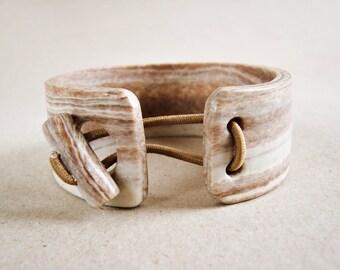 Cuff bangle faux wood polymer clay, bangle bracelet, wood imitation, light wood, Nature jewel