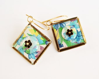 Recycled tin earrings with flowers and leaves , Floral earrings, Square earrings, Upcycled Jewelry, Brass earrings, Blue earrings