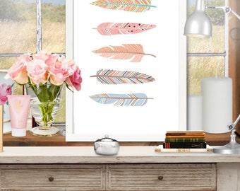 Feather art print. Digital poster. Printable art. Printable nursery decor.