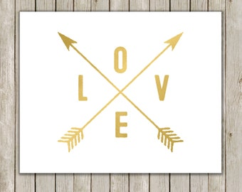 8x10 Love and Arrows Printable Art, Metallic Gold Love Typography Print, Typography Art, Printable Poster, Wall Art Decor, Instant Download