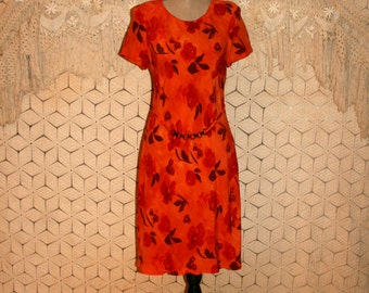 Vintage 90s Dress Orange Floral Dress Short Sleeve Day Dress Midi Dress Orange Dress Rayon Floral Print Dress Medium Large Womens Clothing