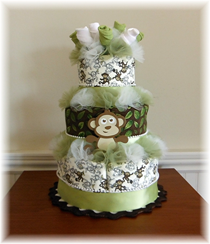 3 Tier Baby Sock Bouquet Burp Cloth Cake Monkey Baby