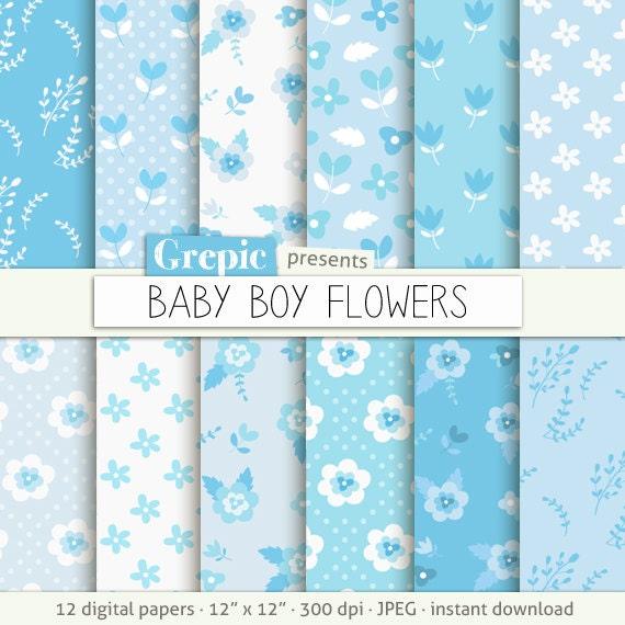 SALE 50 Baby Boy Digital Paper Flowers