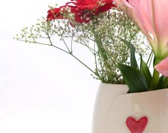 Ceramic vase | Red Heart | Wheel Thrown | Altered vase | Stoneware |