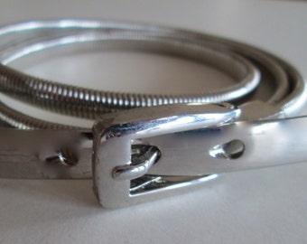 Snake Serpentine Belt Stretch Coil Silver Metal Size Medium Accessory