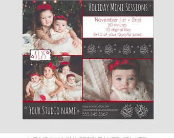 INSTANT DOWNLOAD - Holiday Mini Session Photography Template - Marketing Template - Christmas - Trees - Chalkboard