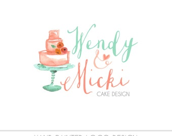 CLEARANCE - Watercolor Bakery Watermark Business Logo - Watercolor, Cake Stand, Wedding, Drawn, Artistic,  Simple Design, Mint & Peach