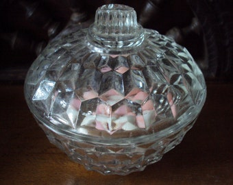 Vintage french sugar or sweet box glass dating from the 1960s.