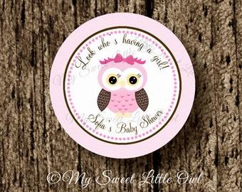 Girl Owl sticker -pink owl cupcake topper - owl birthday - owl printable - owl favor tag - owl label - owl printable - brown pink owl