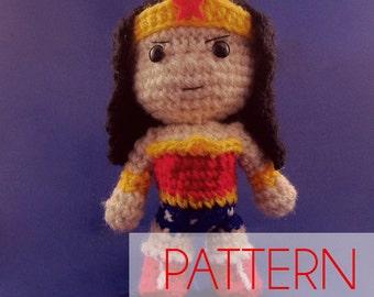 PDF CROCHET PATTERN Chibi Wonder Woman Inspired amigurumi