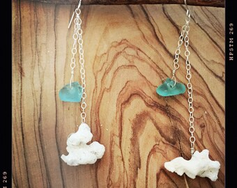 Coral and Sea Glass Earrings