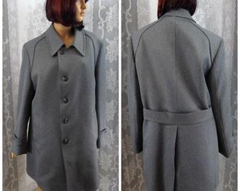 Mens winter coat, Warm jacket, Lined coat, Button up jacket, Men's dress coat, 1960-1970 men's jacket, Long coat