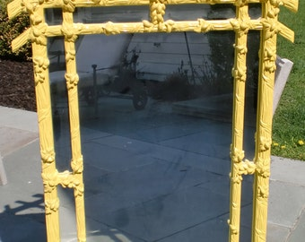 YELLOW Lacquer GAMPEL STOLL Faux Bois Chinoiserie Wall Mirror Hollywood Regency Mid Century